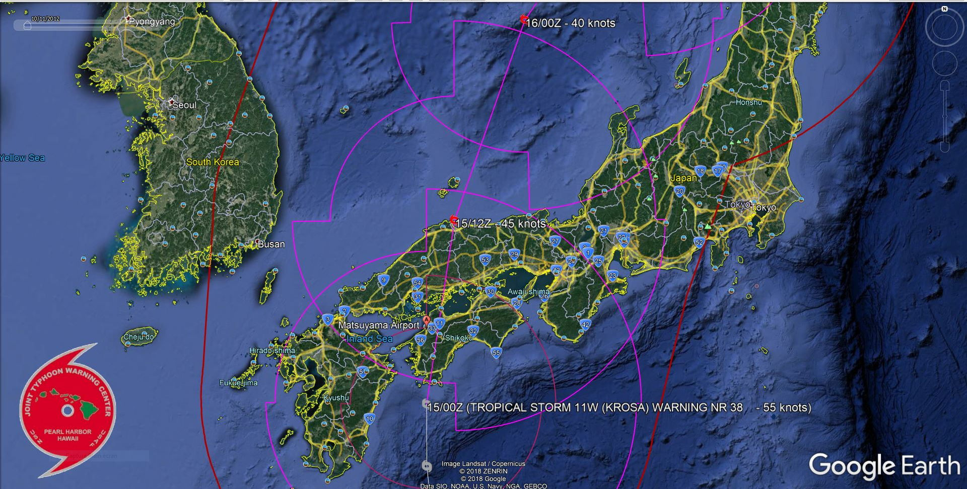 TS Krosa is forecast to begin extratropical transition in 24h over the Sea of Japan
