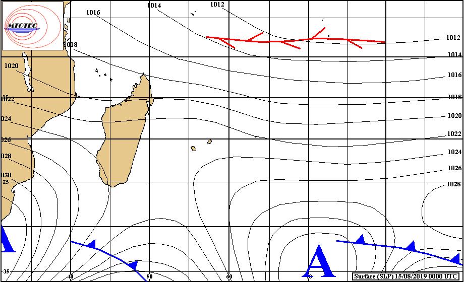 Situation de surface analysée ce matin. Les vents faiblissent sur les Iles Soeurs. MTOTEC