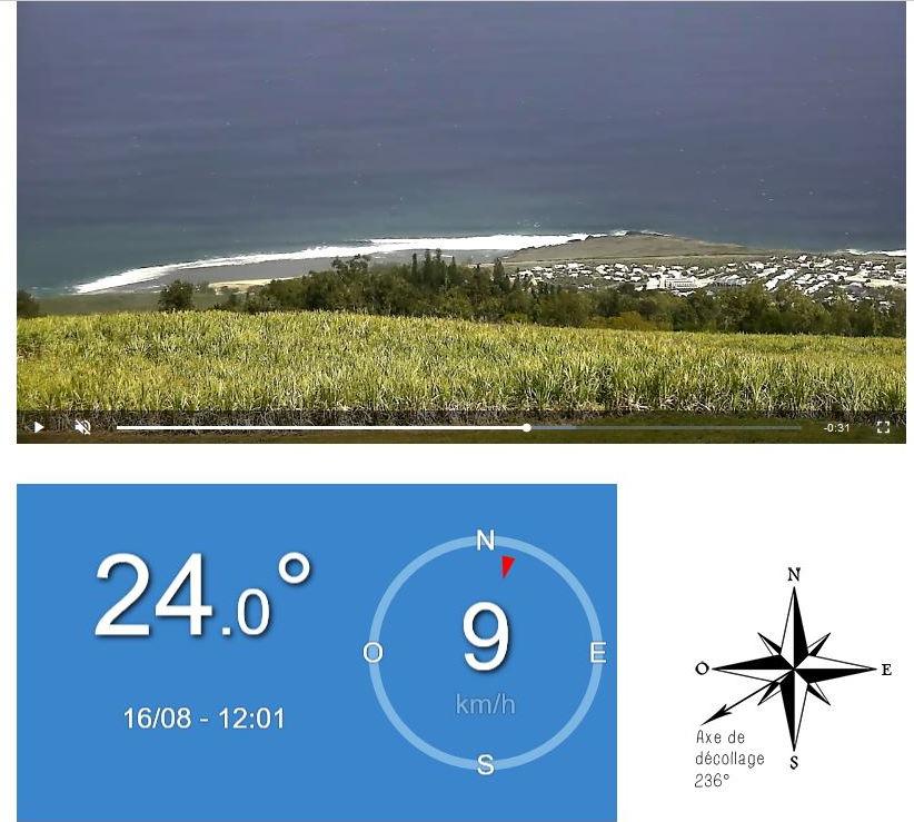 A midi le littoral Ouest Sud-Ouest vu avec le zoom de la webcam des Colimaçons. On apercoit le train de houle qui affecte déjà les côtes Ouest et Sud. METEO REUNION