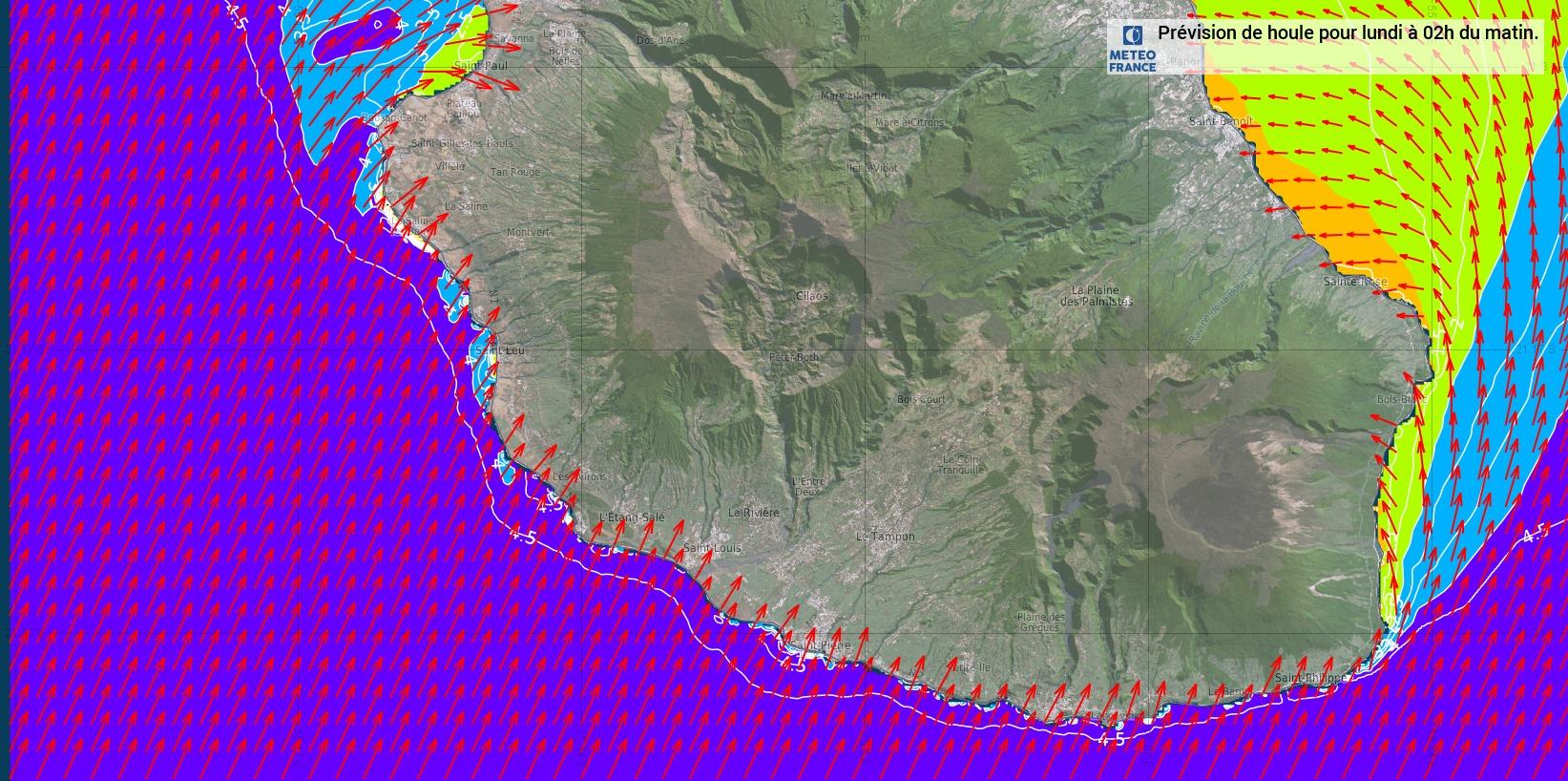 """Document METEO FRANCE OCEAN INDIEN. Modèle WW3. """"Les secteurs les plus exposés sont ceux où la direction de la houle est perpendiculaire au rivage"""" précise Météo France."""