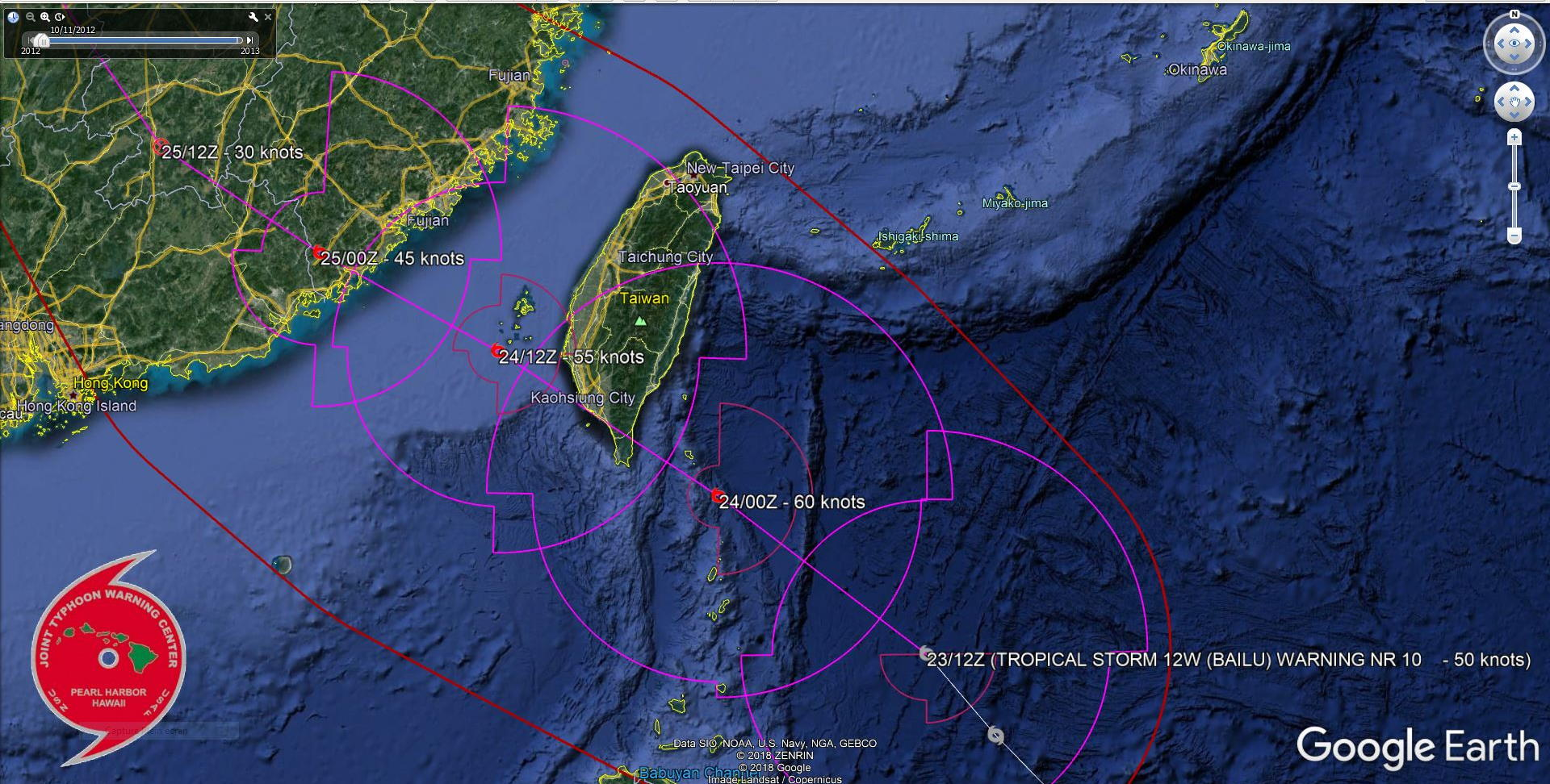 TS Bailu(12W) forecast to track over southern Taiwan shortly after 12h near minimal typhoon intensity