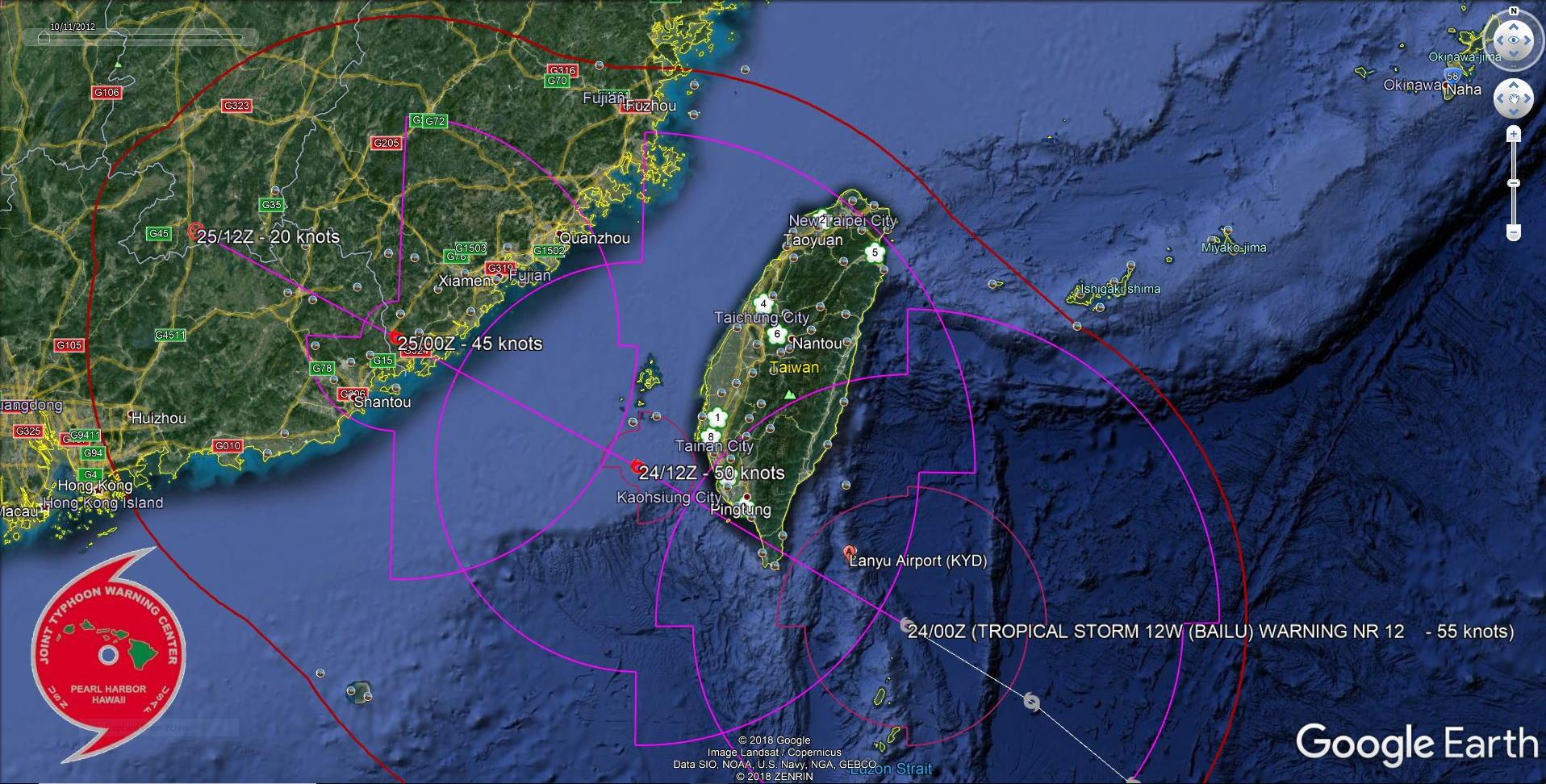 TS Bailu(12W) 85km to Lanyu island, landfall in China shortly before 24h