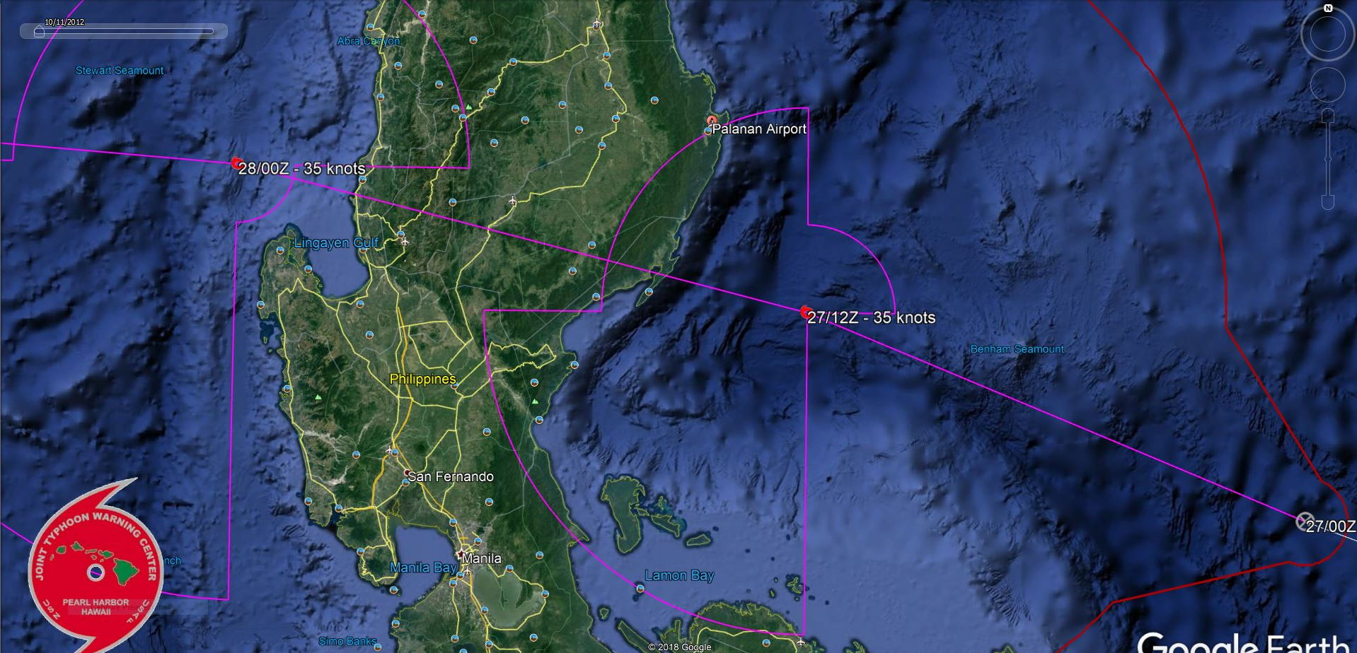 TD 13W: landfall over Eastern Luzon within 12h. Intensification over the South China Sea