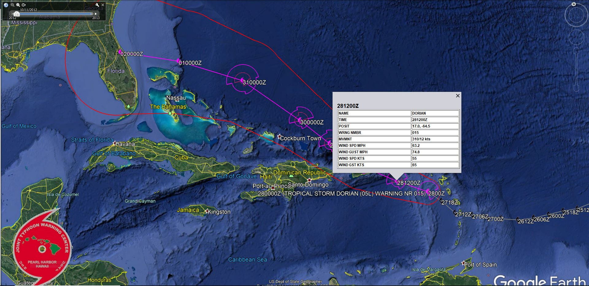 Bulletin de prévisions de trajectoire et d'intensité N15 du National Hurricane Center de Miami. US NAVY