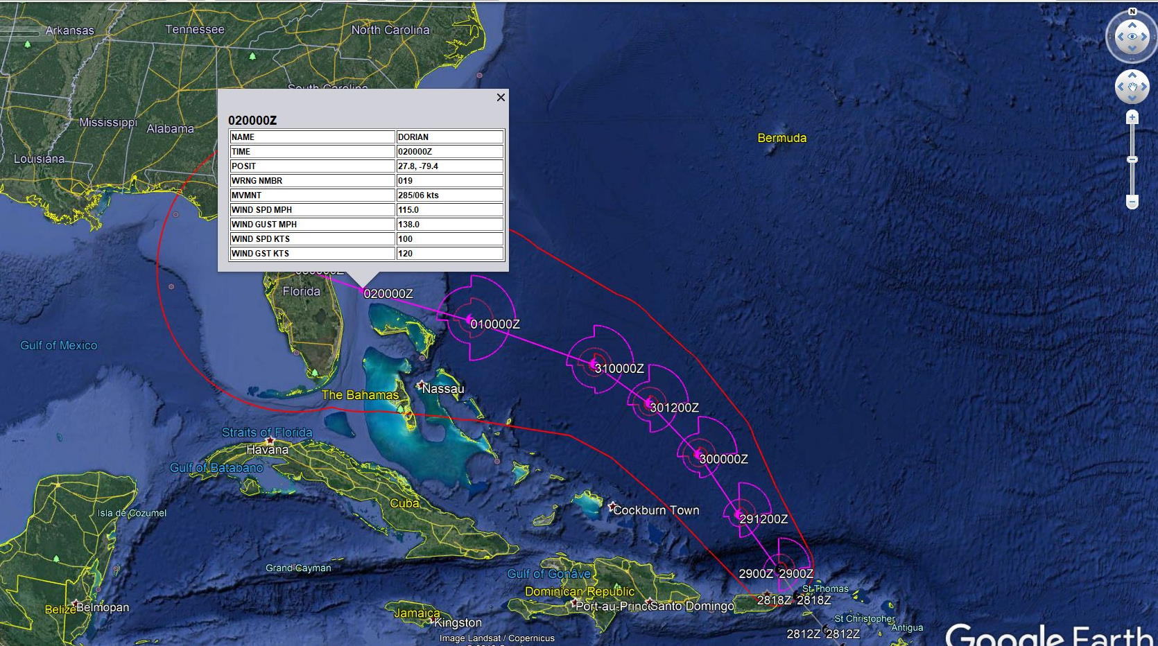 Hurricane DORIAN(05L) forecast to become a serious threat to Florida after 72h