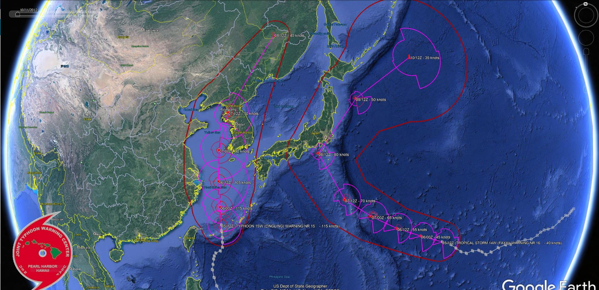 Lingling(15W) : category 4, landfall over North Korea in 48h as a cat 2. Faxai(14W): update