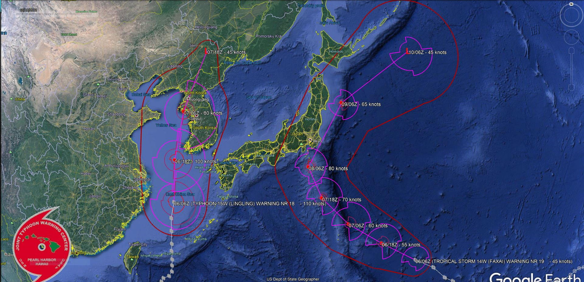 Typhoon Lingling: landfall in NKorea in 24h. Faxai: bearing down on Tokyo in 48h as a Typhoon