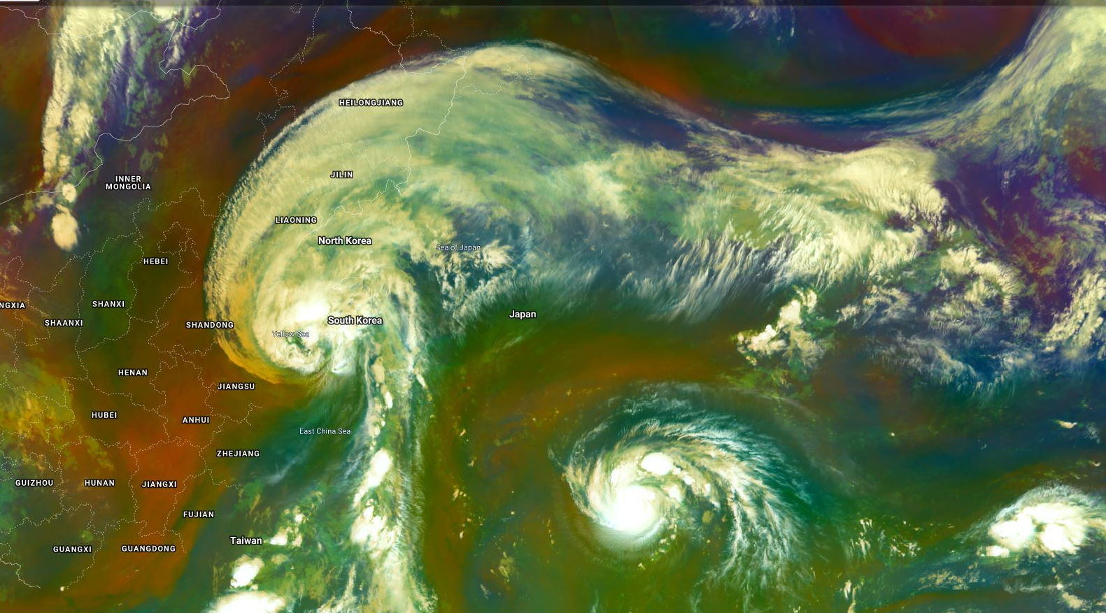 15W & 14W: 06/2130UTC. IMPRESSIVE POLEWARD OUTFLOW FOR 15W