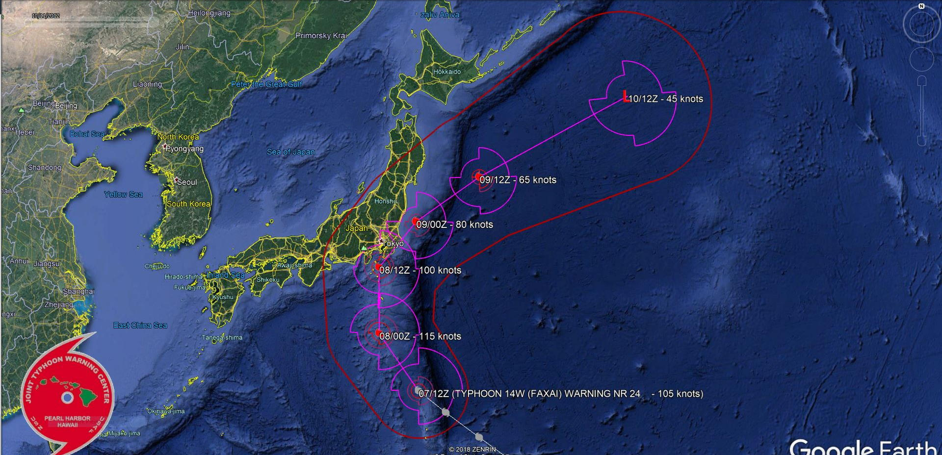 Typhoon Faxai: compact and dangerous category 3, rapidly approaching Tokyo area within 24h