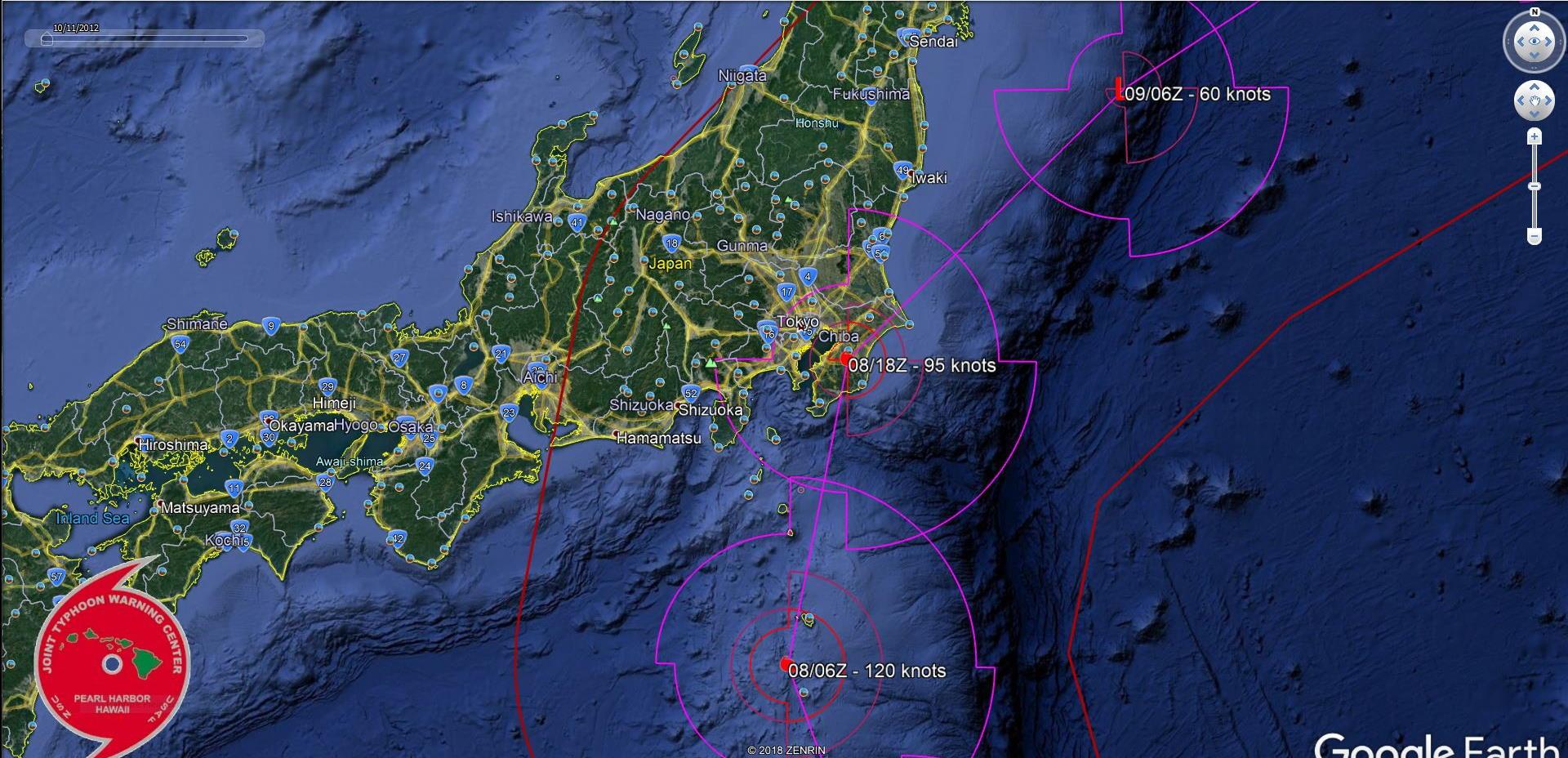 FORECAST TRACK NEAR TOKYO