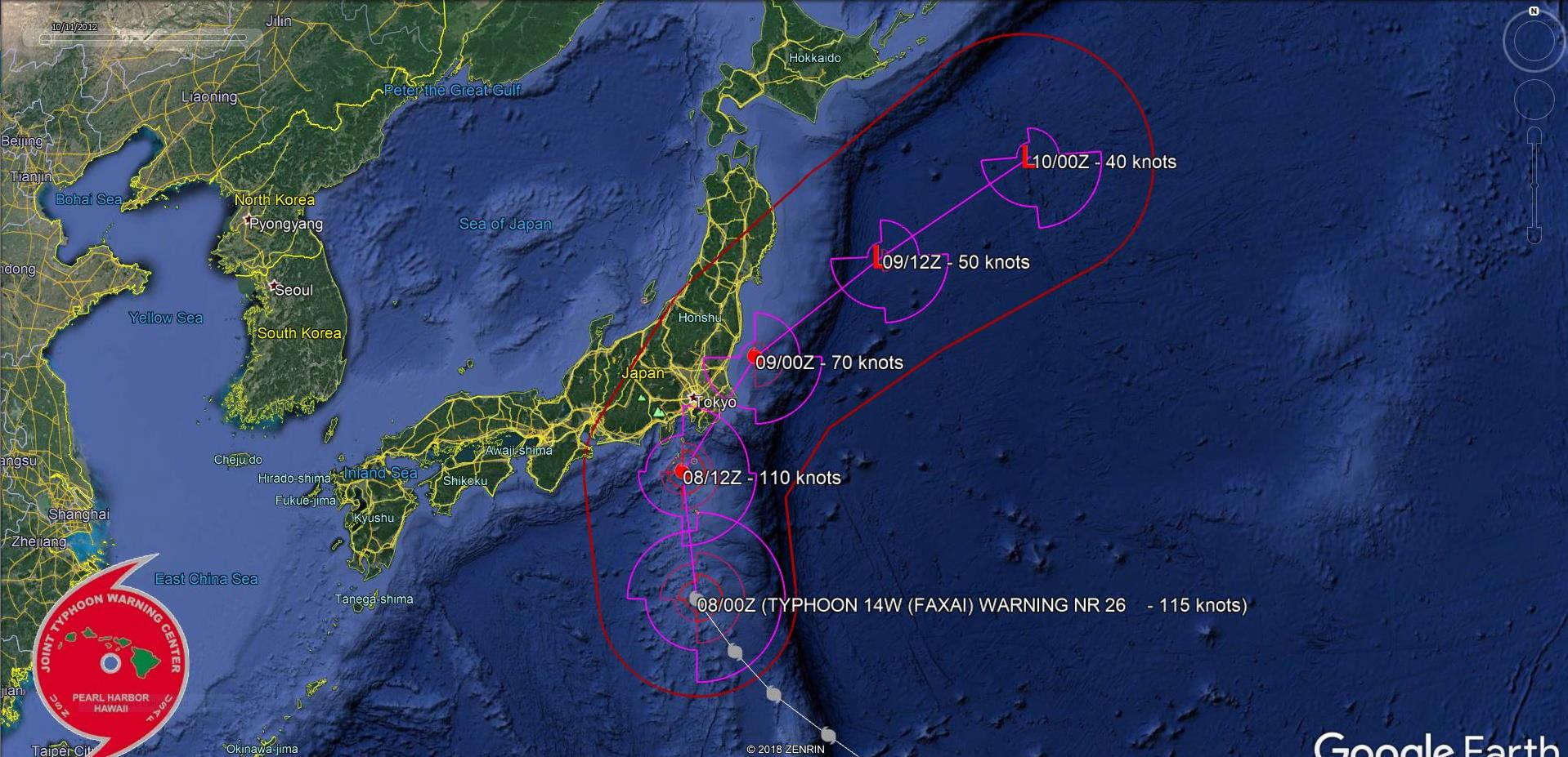 Dangerous Typhoon Faxai is bearing down on the Tokyo area