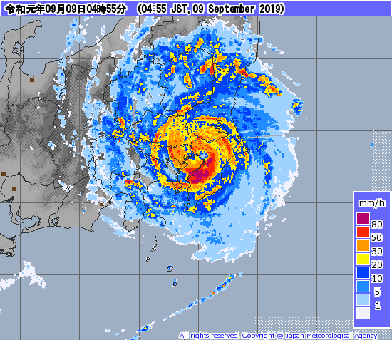 Typhon FAXAI has made landfall over Honshu. Back over open seas within 6h.