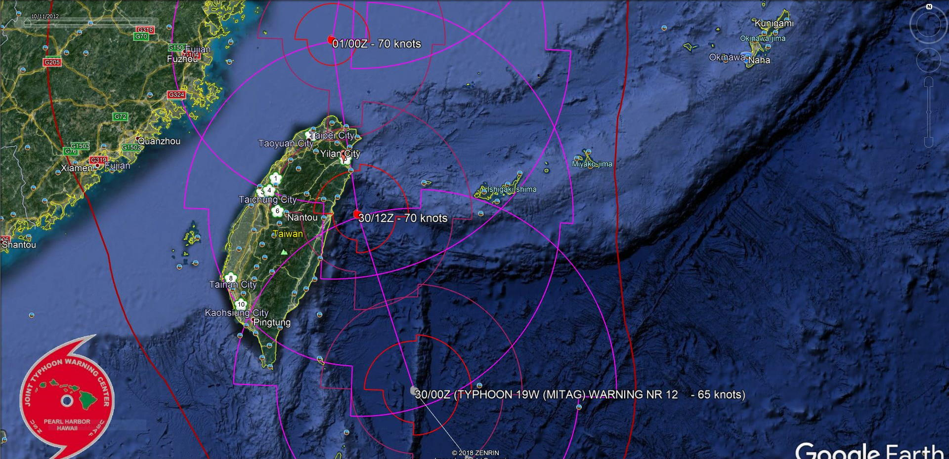FORECAST TRACK CLOSE AND OVER EASTERN TAIWAN
