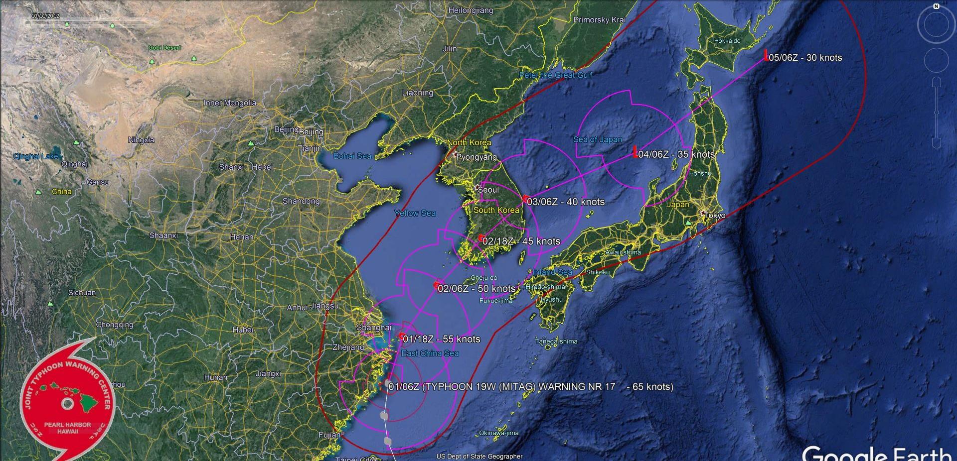 Mitag(19W) tracking close to the Chinese coastline, weakening next 48h