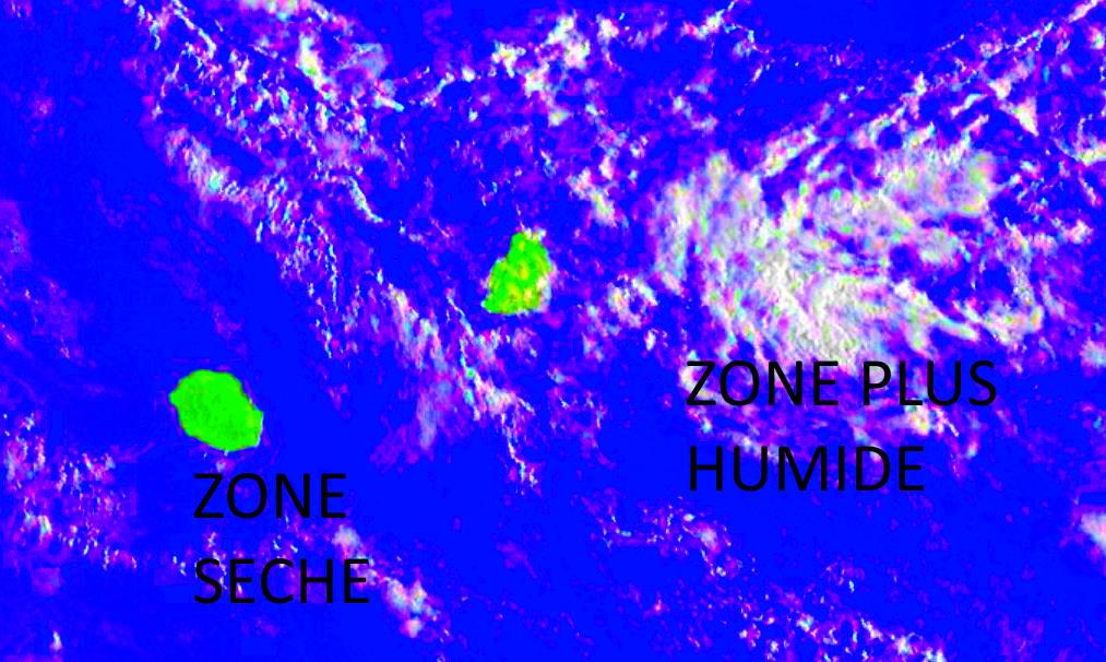Photo satellite de 6h45. La Réunion est toujours dans une zone de temps plutôt sec. L'humidité touchant Rodrigues et Maurice gagne vers l'Ouest.