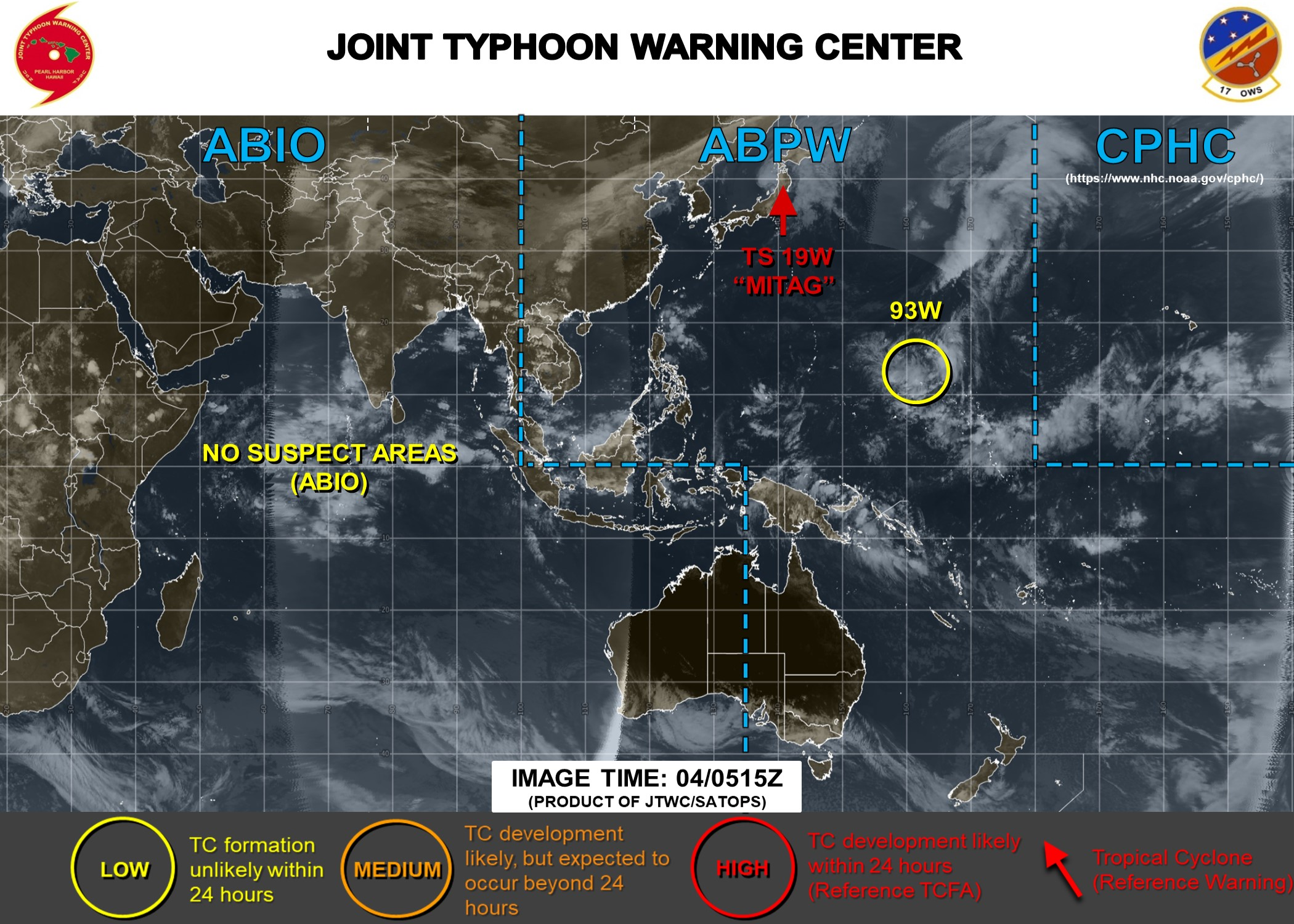 Invest 93W east of Guam: LOW.  Mitag(19W): JMV File. Peak intensity was 90kts(cat 2)