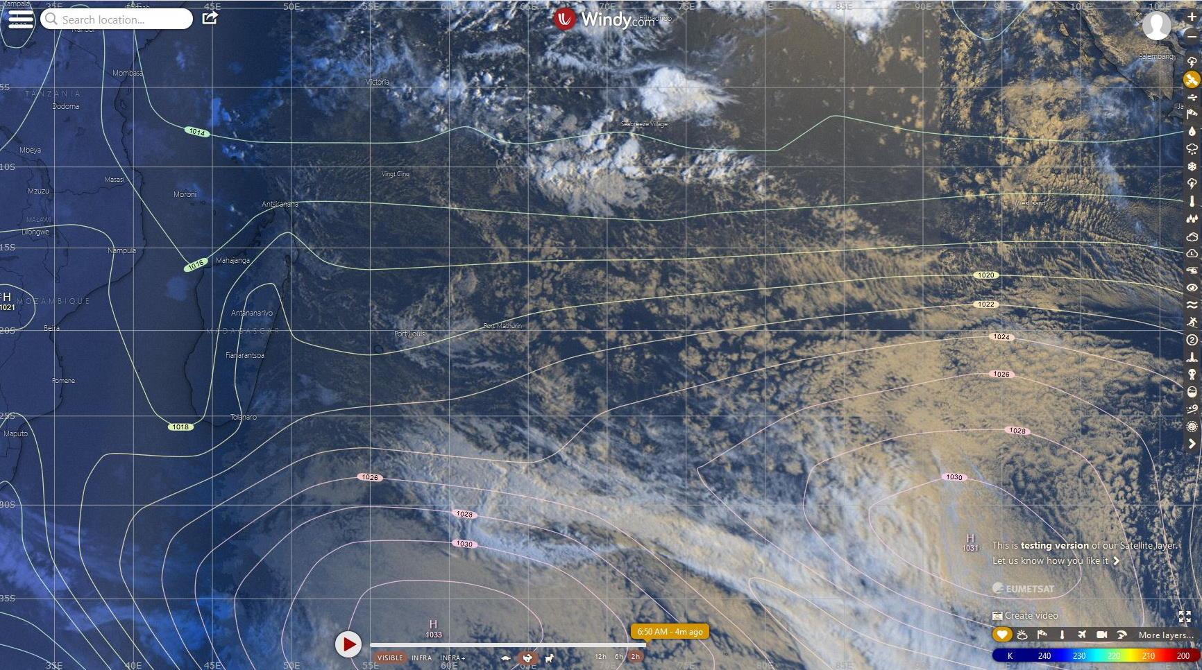 Analyse de surface sur le Sud Indien du modèle européen avec la photo satellite de 6h. WINDY
