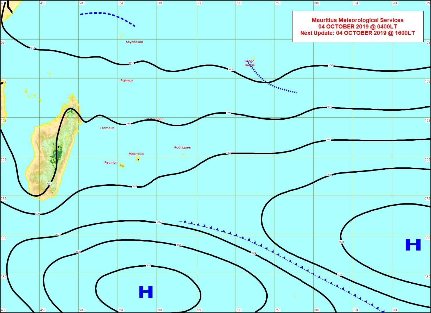 Temps humide sur Maurice avec 74.0mm en 24h à Grand Bassin. MMS