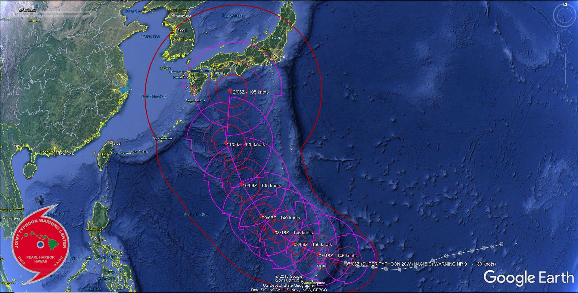 Super Typhoon Hagibis reaching Cat5 soon, passing very close to Anatahan within 12h