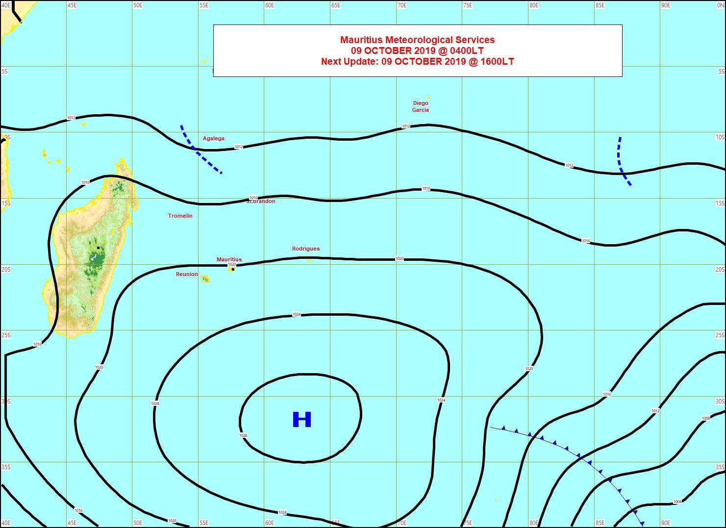 La ligne d'instabilité(pointillés) est à proximité des îles Agaléga. MMS