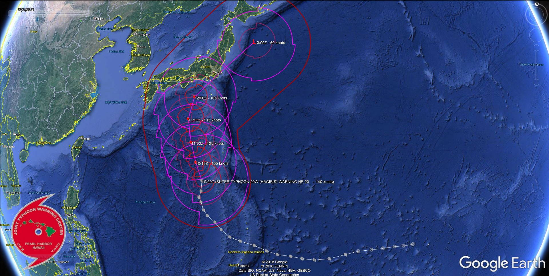 Super Typhoon Hagibis, category 5 has yet to weaken