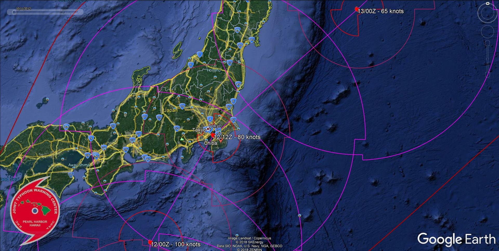 Typhoon Hagibis(20W) is bearing down on the Tokyo/Chiba area