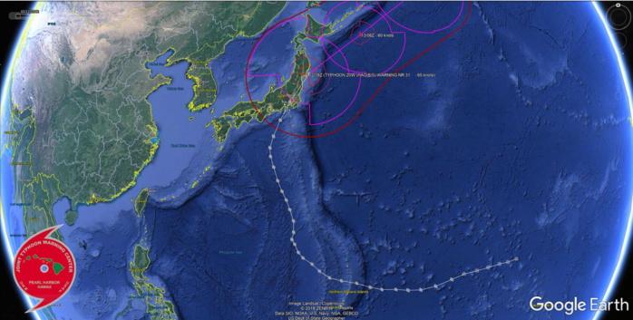 Trajectoire suivie par le cyclone HAGIBIS qui avait atteint le stade de Super Typhon et de Cyclone très Intense du 7 au 10 Octobre loin au sud des îles principales du Japon. JTWC