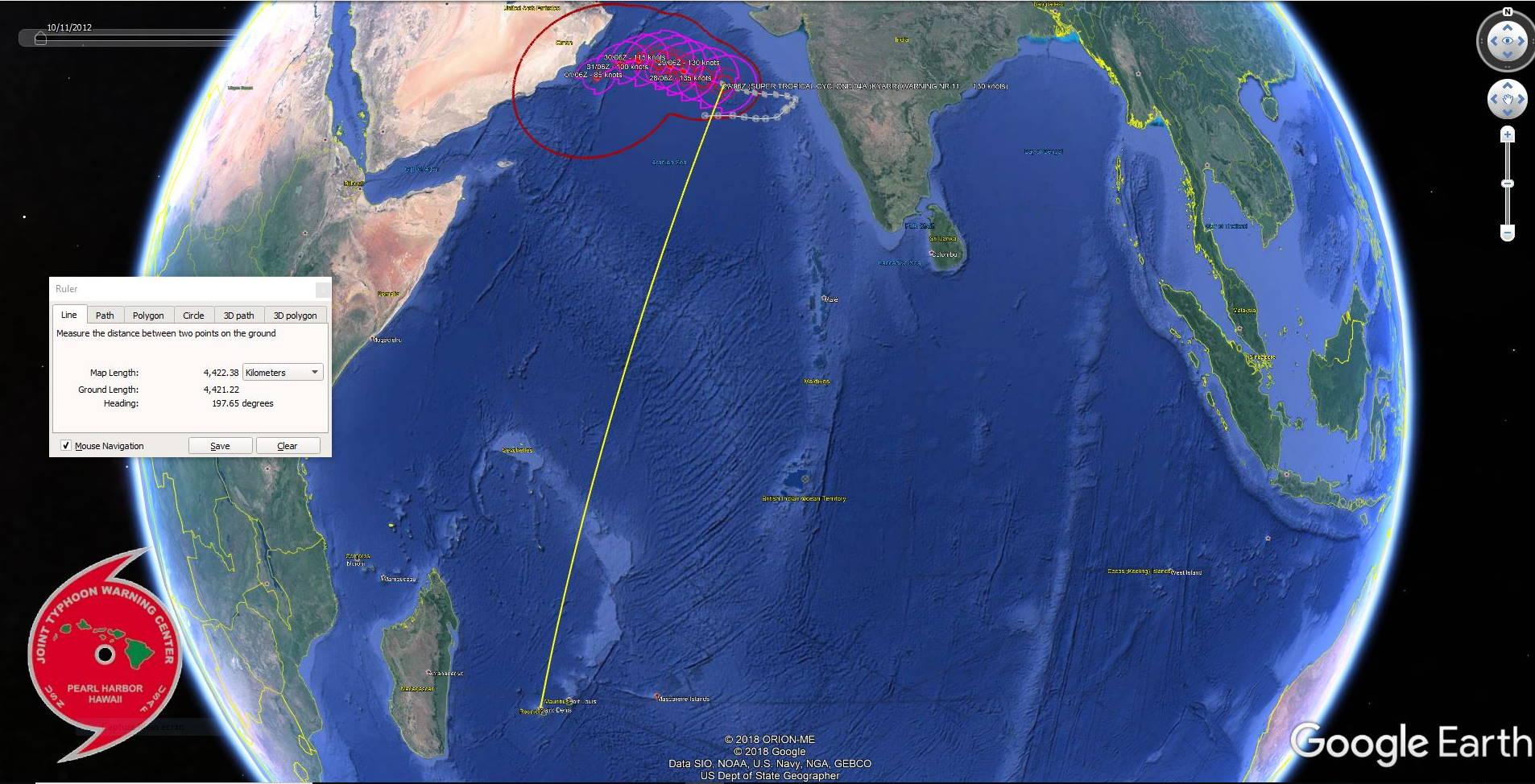 Le Super Cyclone est à 4400 km de la Réunion et ne représente aucun danger pour les îles du Sud Ouest Indien. US NAVY