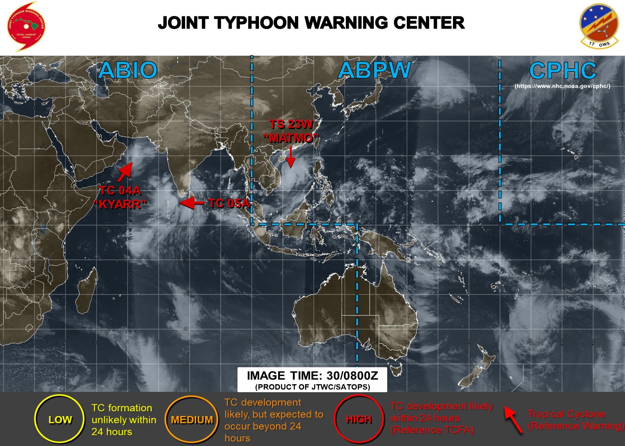 TS Matmo(23W) making landfall. TC Kyarr(04A) and TC 05A updates