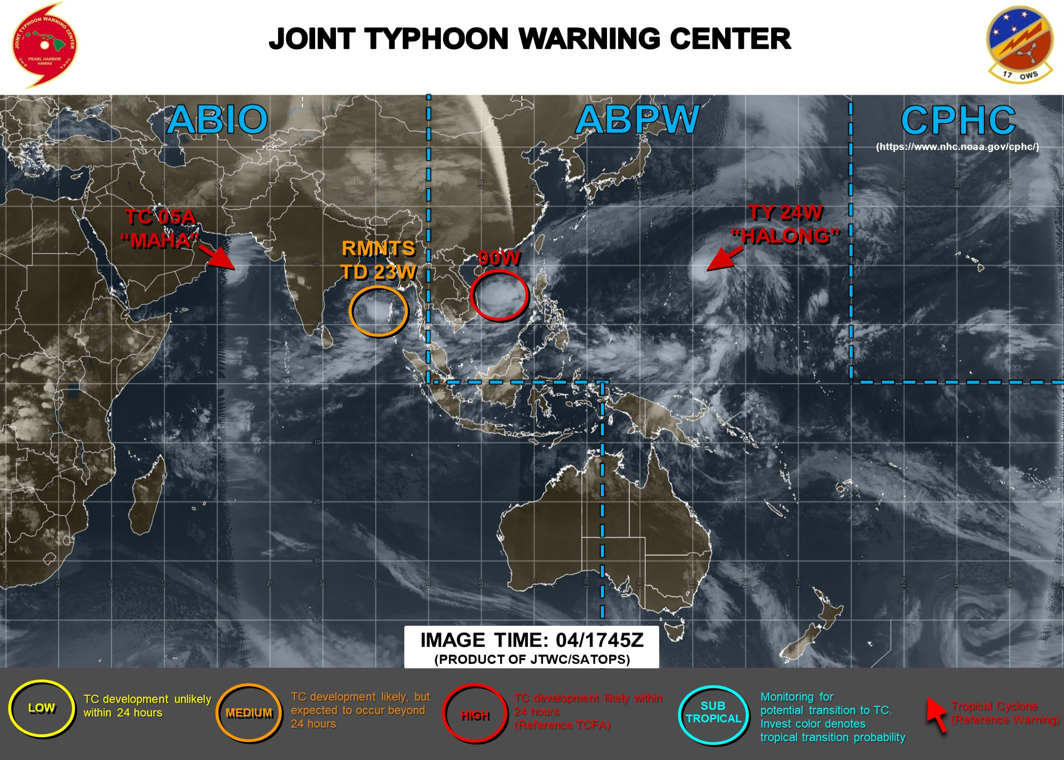Halong:peak intensity/strong category 4 within 24h. Maha:near peak intensity. 90W&23W:close watch