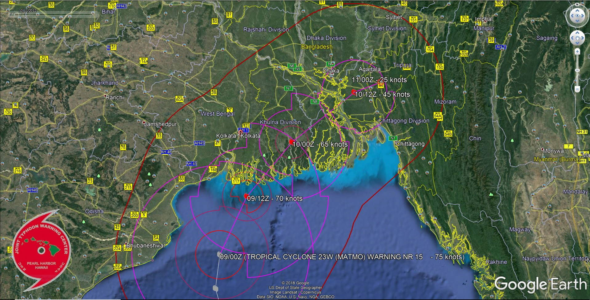 FORECAST TO TRACK APPRX 100KM TO THE EAST OF KOLKATA SHORTLY BEFORE 24H