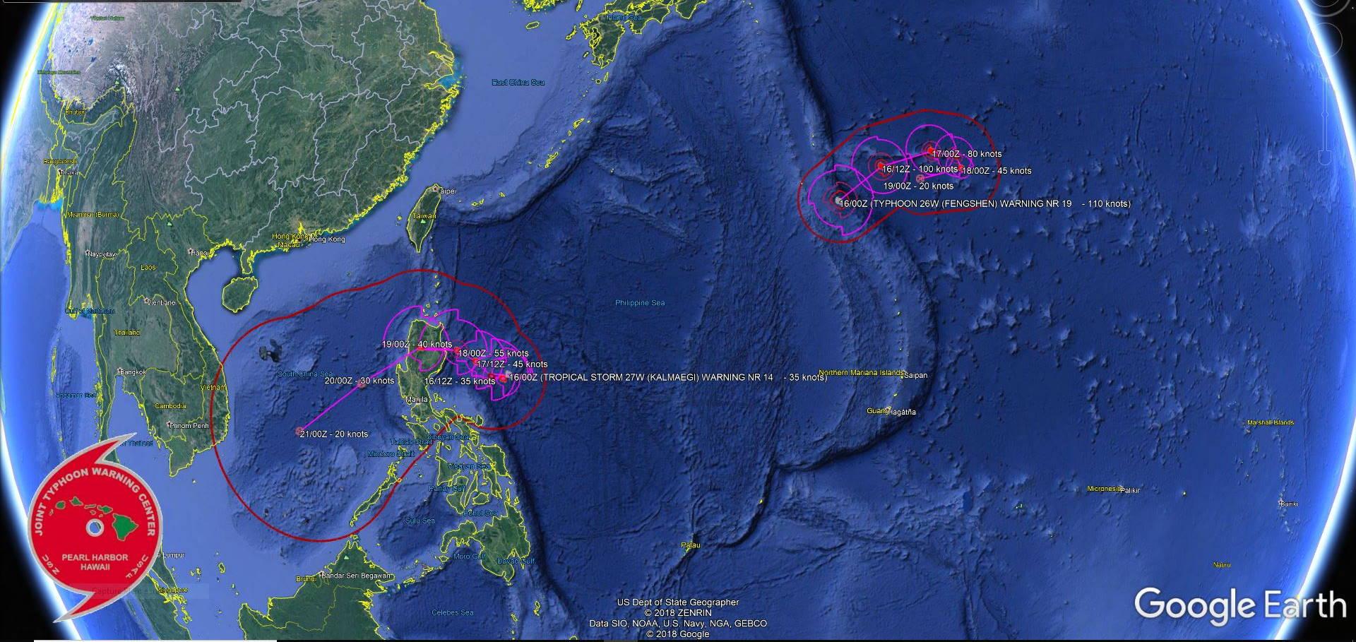 Tropical Storm Kalmaegi & Typhoon Fengshen: updates at 16/03UTC