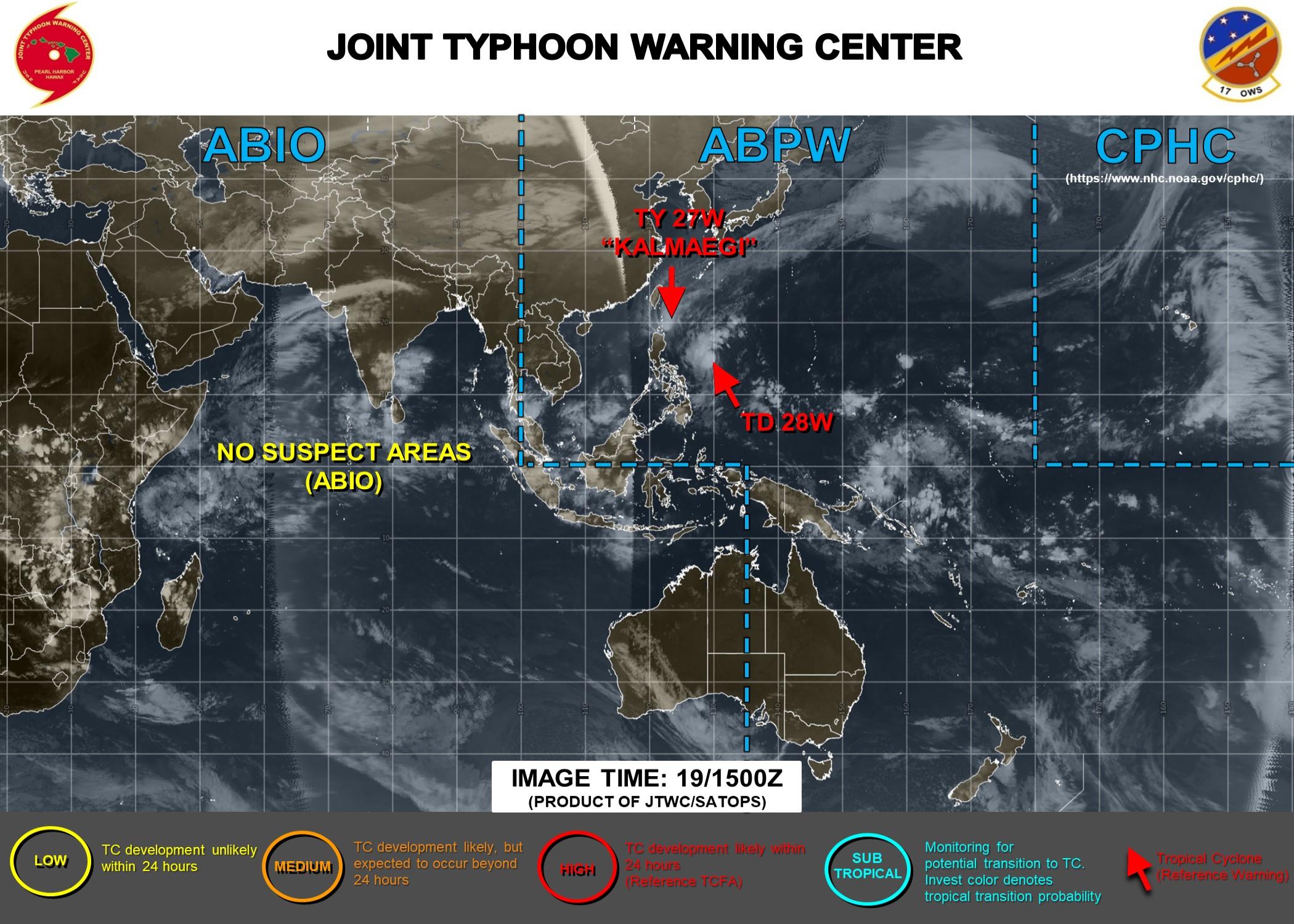 Typhoon Kalmaegi and TD 28W: updates at 19/15UTC