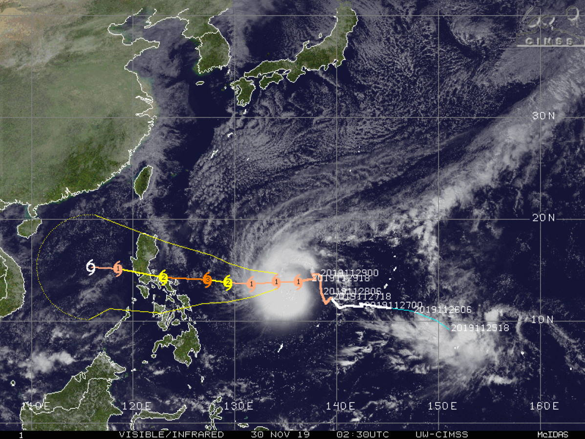 Typhoon Kammuri likely to intensify significantly next 2 days, approaching the Philippines