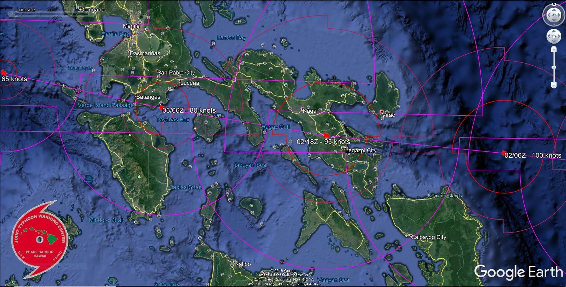 Kammuri(29W): rapid intensification next 24h then tracking between Virac and Legazpi