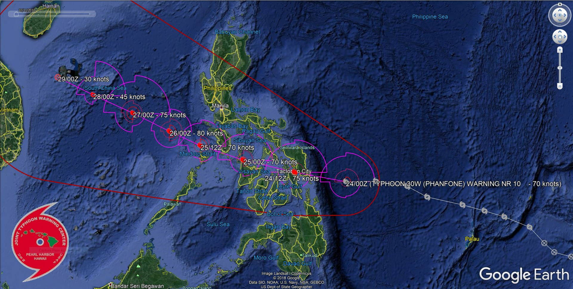 Intensifying Typhoon Phanfone bearing down on Tacloban/PH. Landfall: shortly before 12h