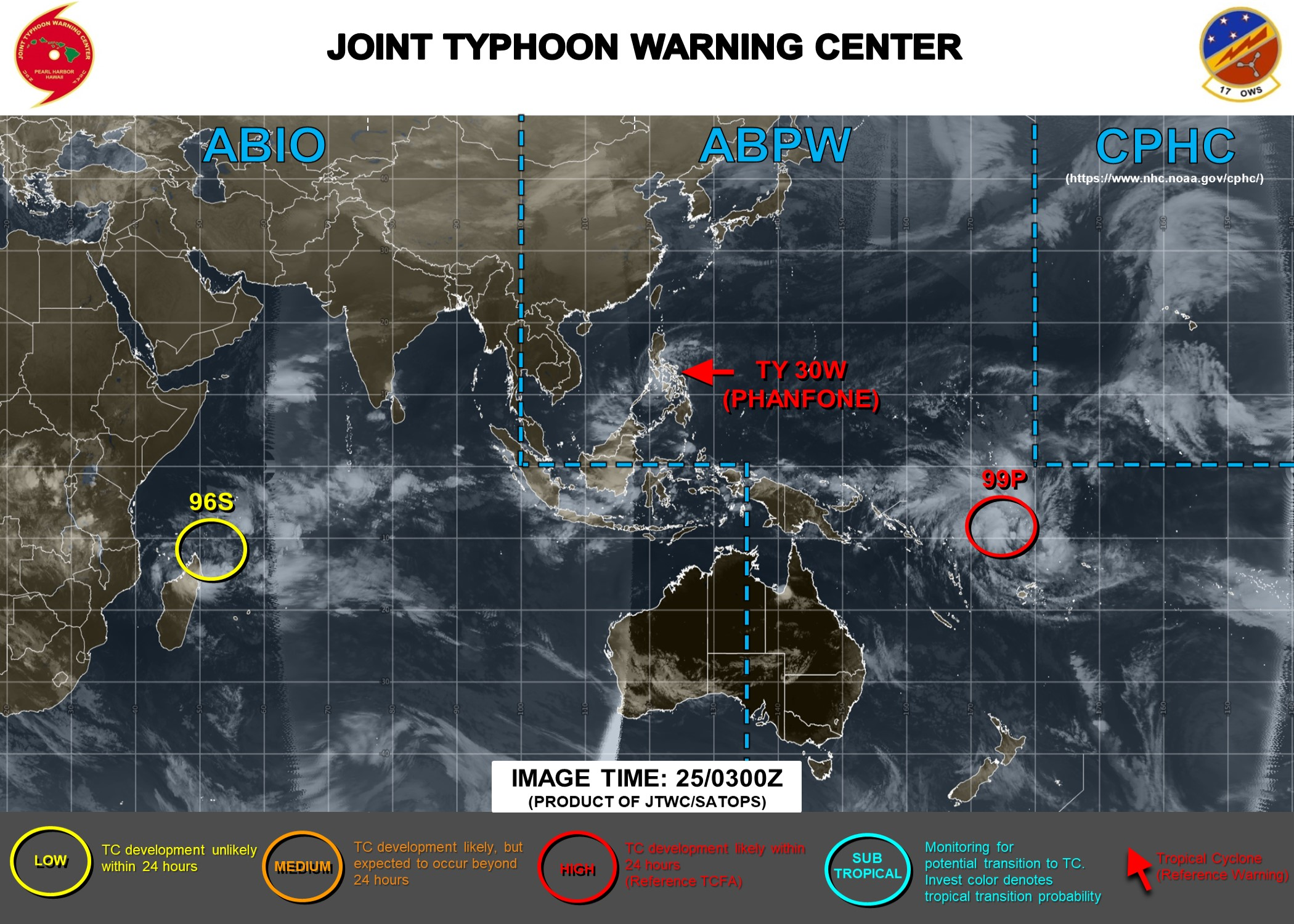 Typhoon Phanfone(30W) near Cat 3.  Invest 99P: Tropical Cyclone Formation Alert.