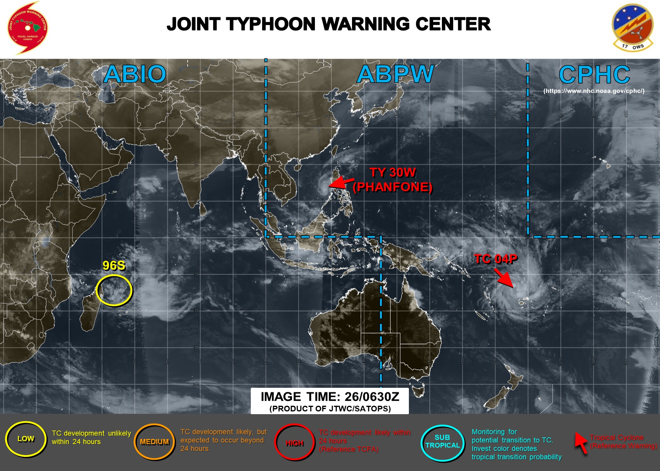 Philippines: Phanfone moving away and weakening. Fiji: 04P approaching and strengthening
