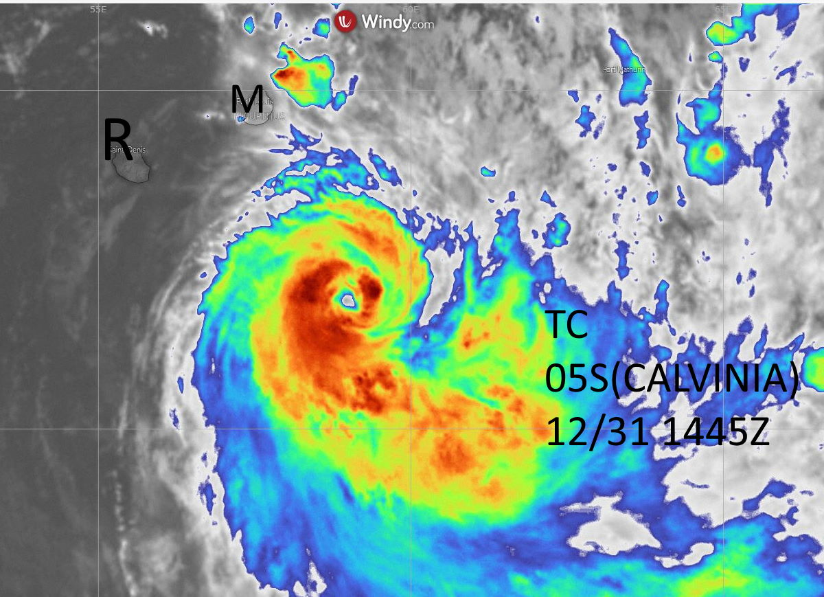 05S(CALVINIA) now at Typhoon intensity, moving away from the Mascarenes