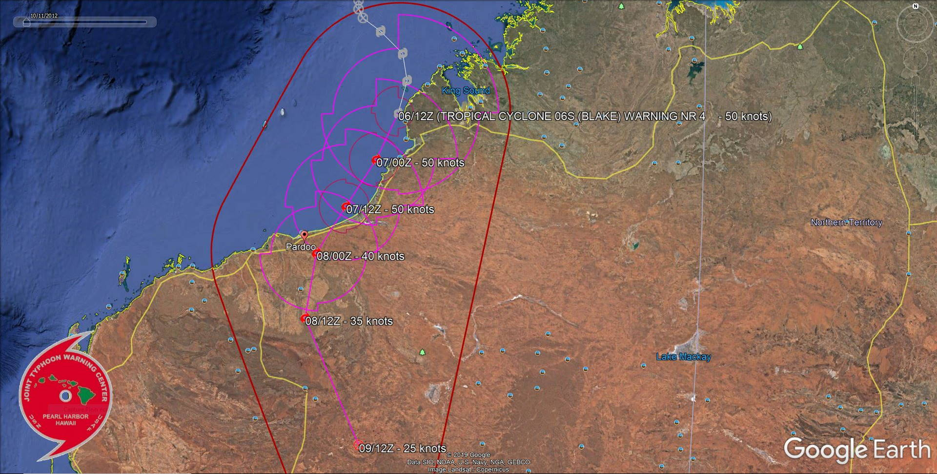 TC 06S(BLAKE) tracking just west of Broome as a 50knots cyclone