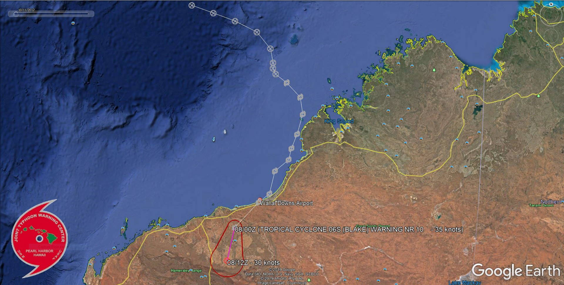 TC 06S(BLAKE) made landfall near Wallal Downs, lifetime peak intensity was 50knots