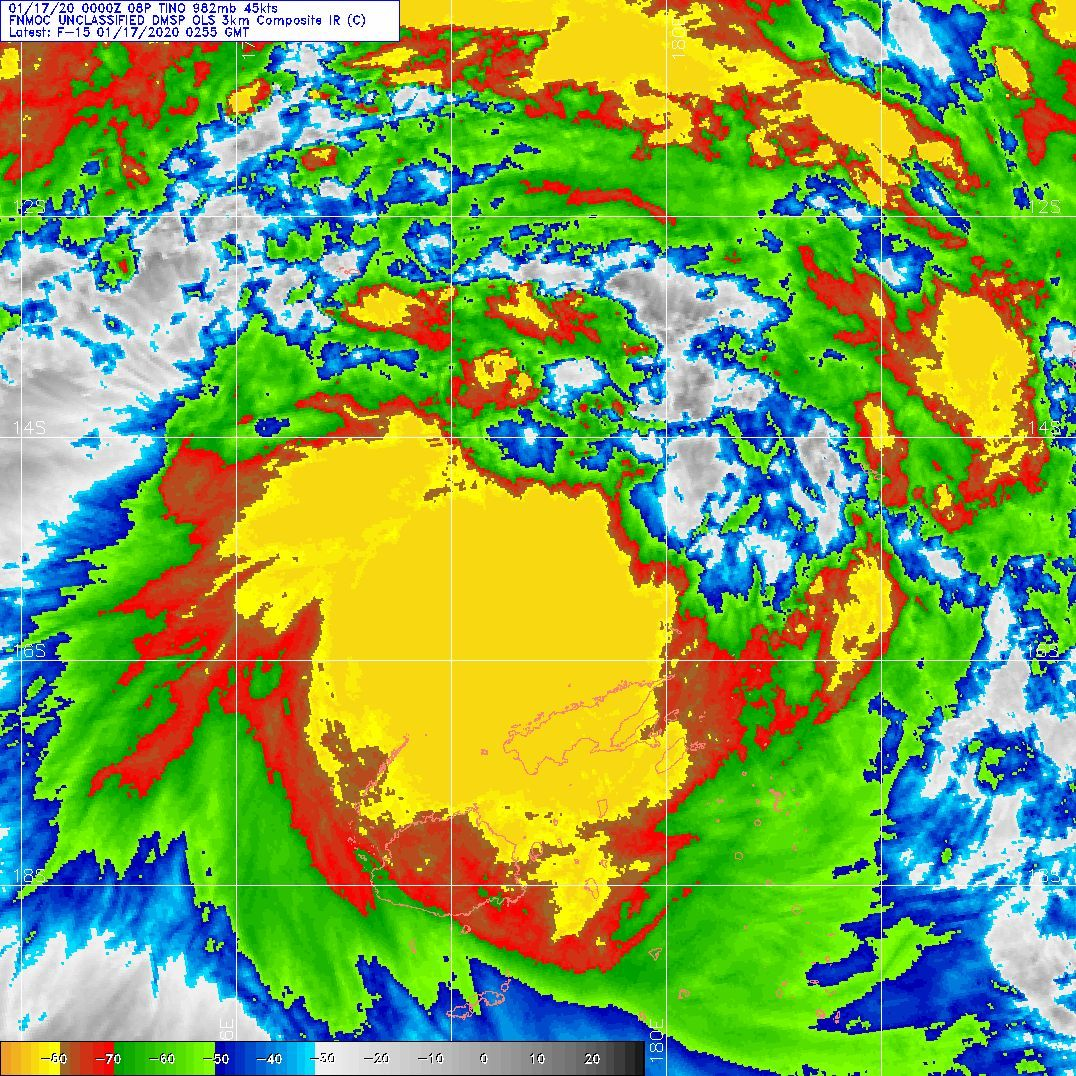 TC 08P(TINO), intensifying, tracking less than 100km east of Labasa/Fiji within 6/12hours