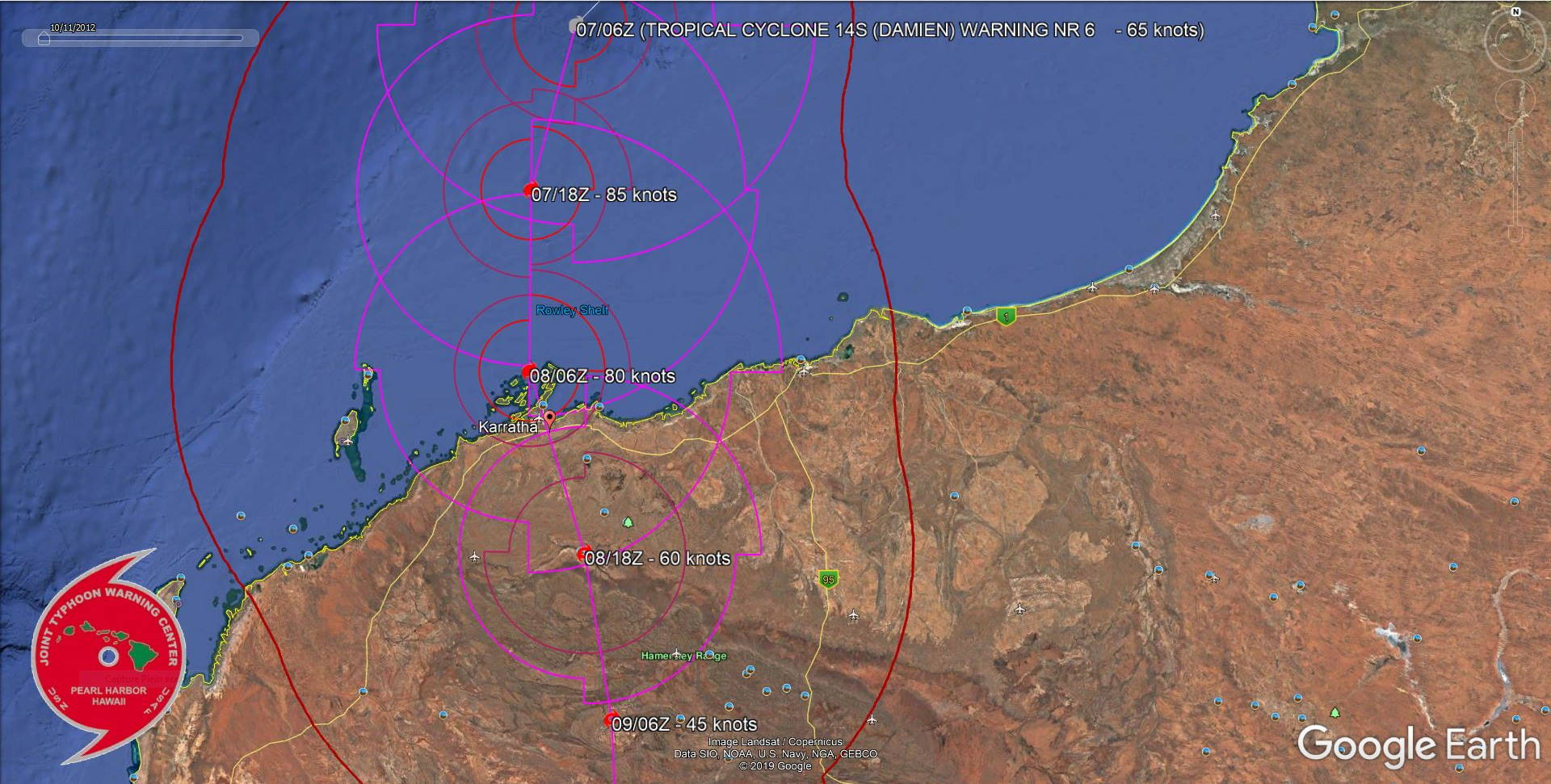 TC 14S(DAMIEN) now CAT 1 US, intensifying and bearing down on Karratha/Western Australia