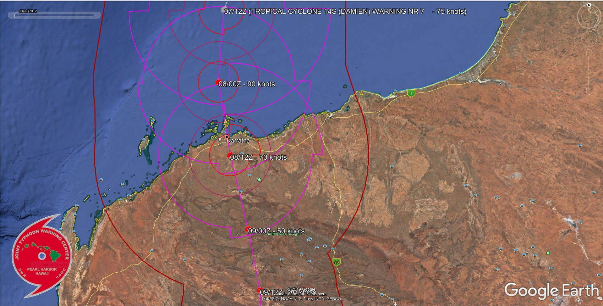 TC 14S(DAMIEN) CAT 1 US, intensifying, approaching Karratha, update at 07/15UTC