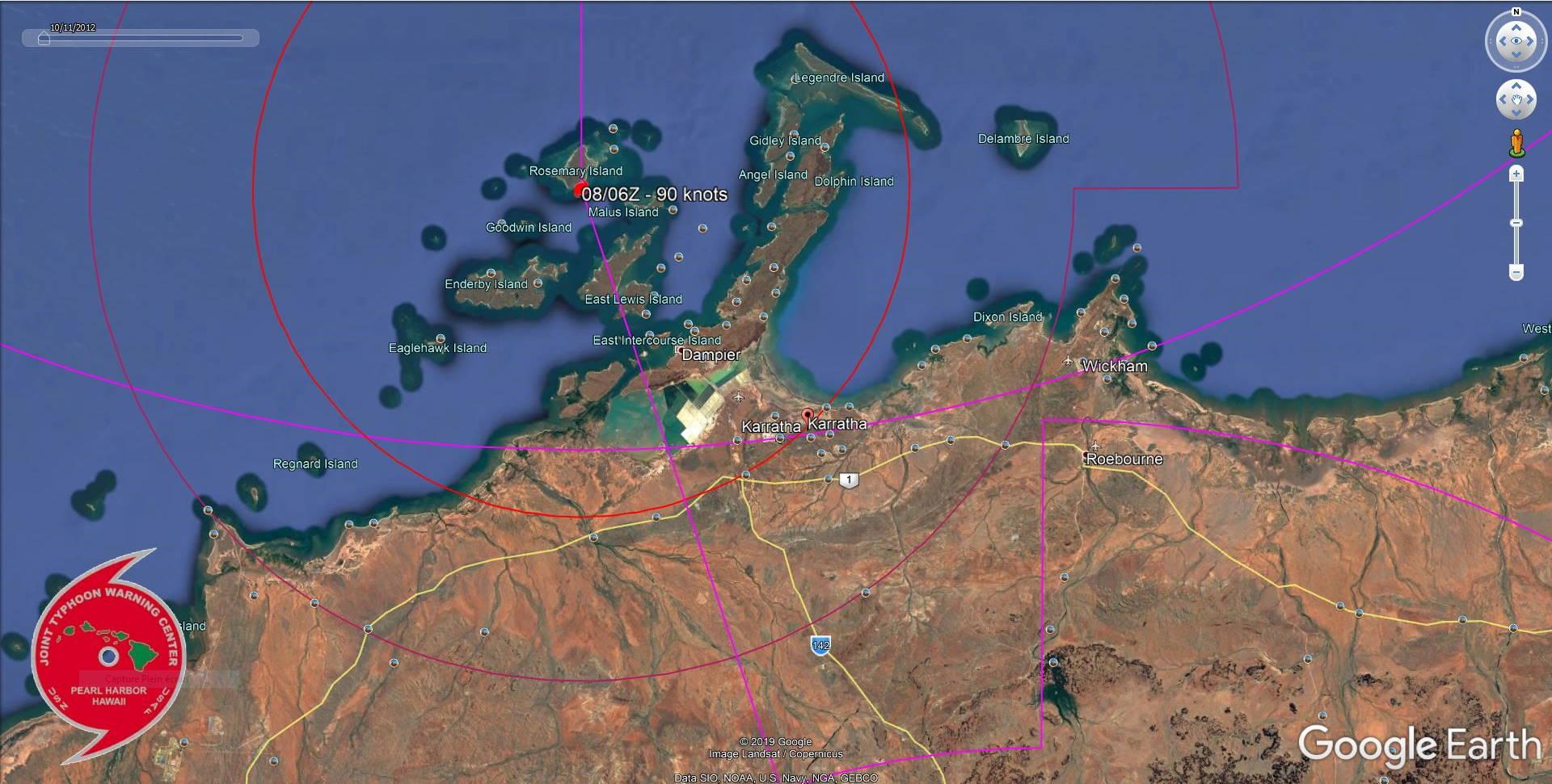 TC 14S(DAMIEN) CAT 2 US, intensifying, approaching Karratha, update at 07/21UTC