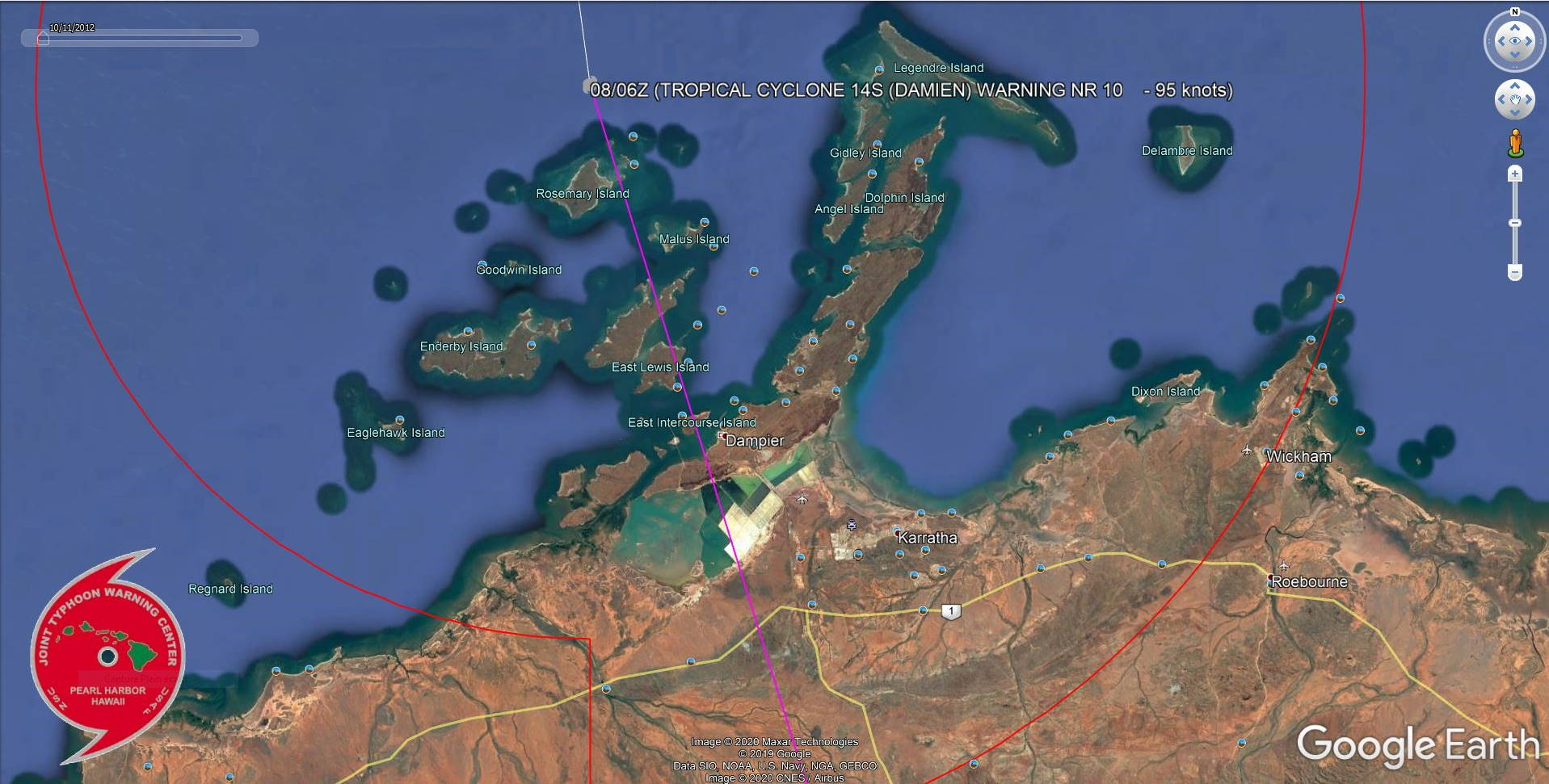 TC 14S(DAMIEN) strong CAT 2 US, landfall near Karratha, top reported gust: 195km/h