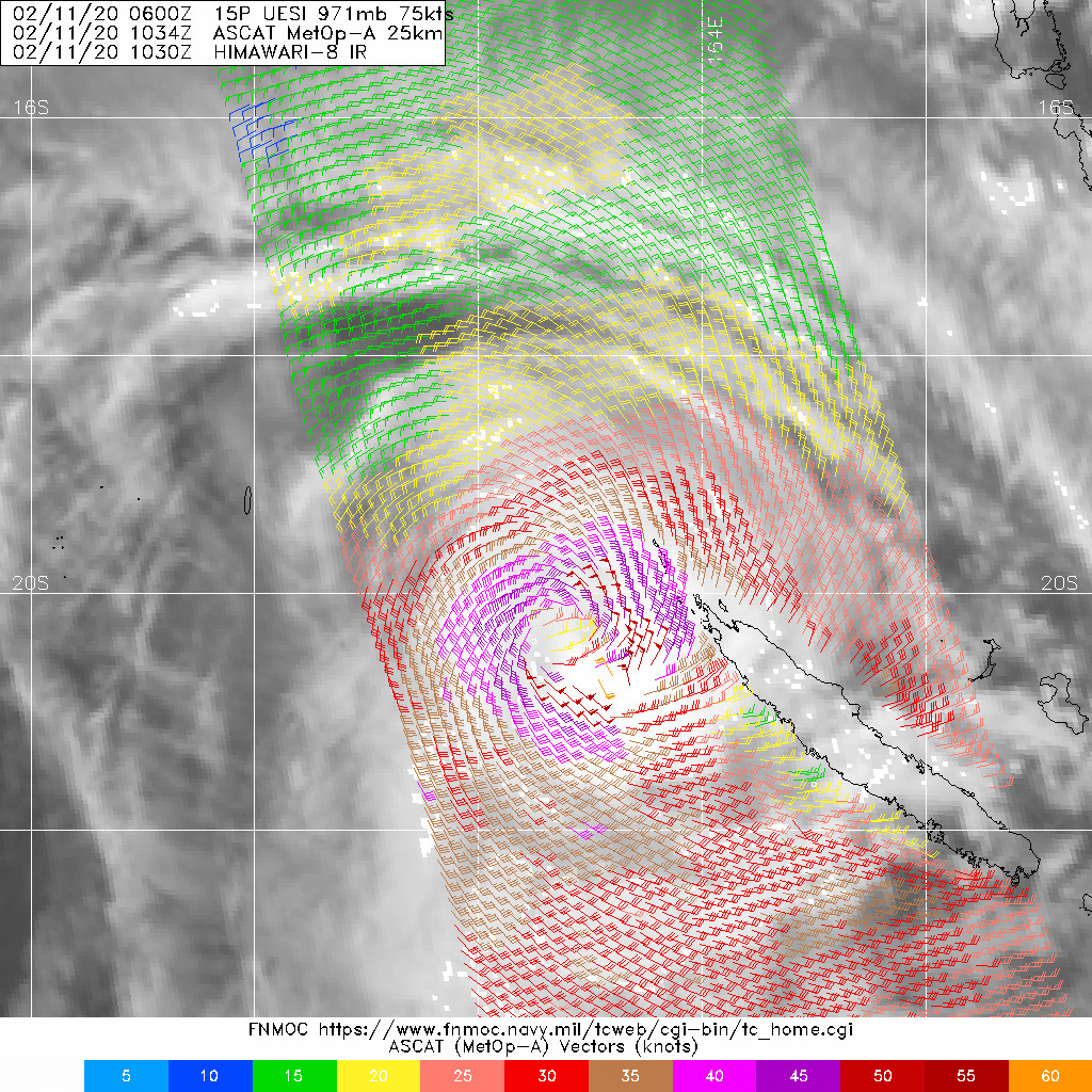 South Pacific: TC 15P(UESI) 70knots cyclone, update at 11/15UTC