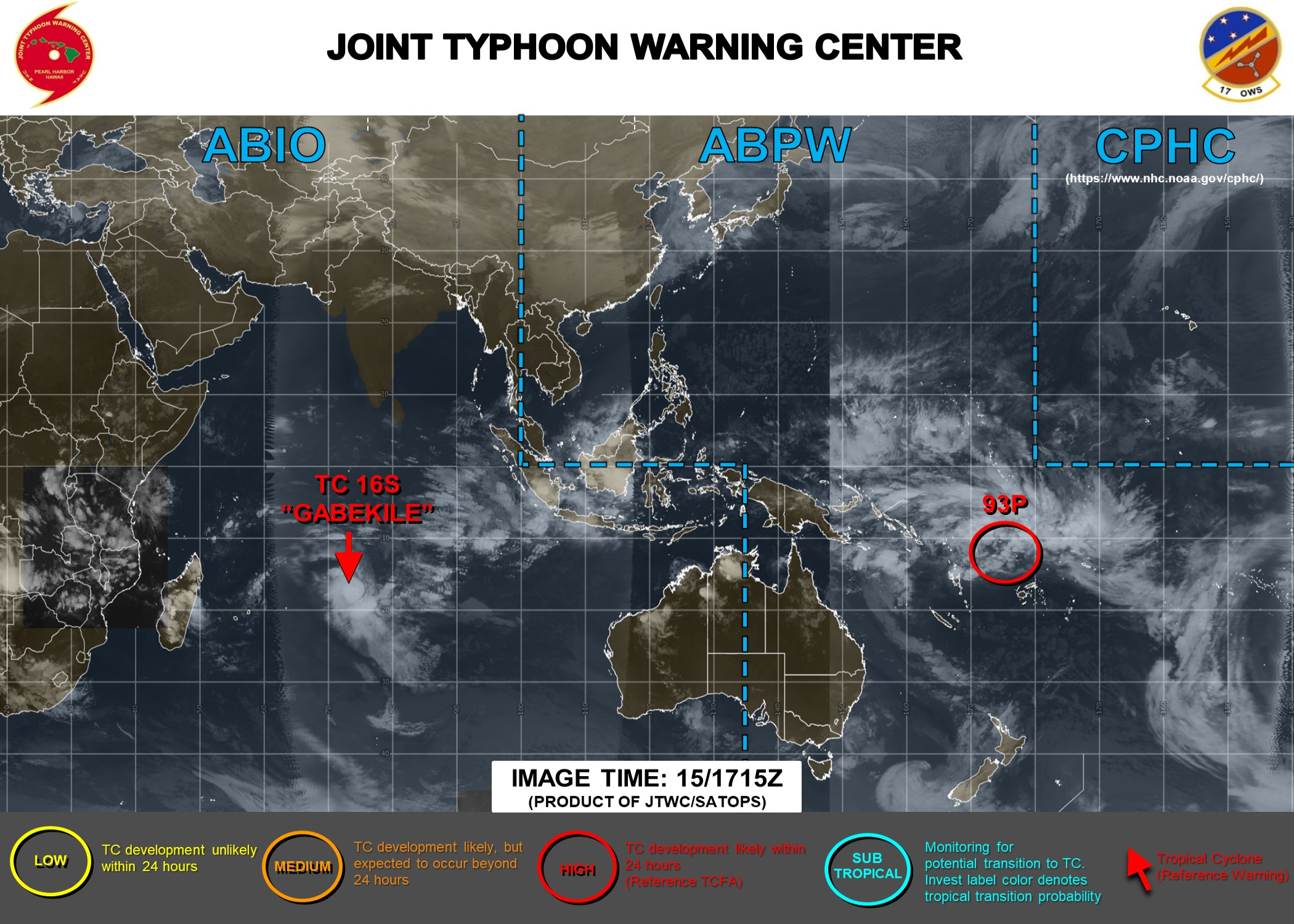 TC 16S(GABEKILE): rapid intensification. Invest 93P: Tropical Cyclone Formation Alert. 15/21UTC