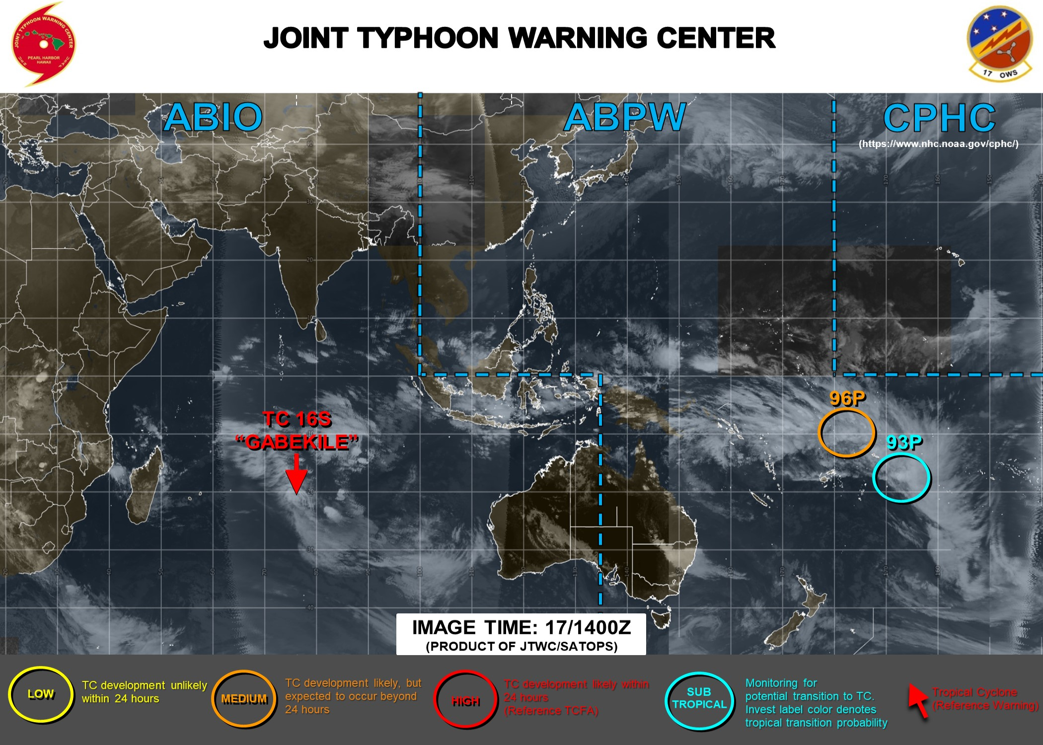 TC 16S(GABEKILE): unraveling slow-moving and Invest 93P & 96P: updates at 17/15UTC
