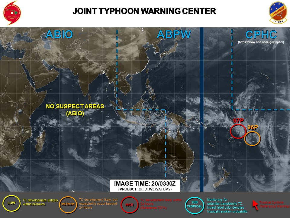 South Pacific: Invest 97P: Tropical Cyclone Formation Alert.  96P: update at 20/06UTC